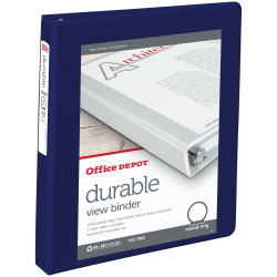"Office Depot® Brand Durable View 3-Ring Binder, 1"" Round Rings, Blue"