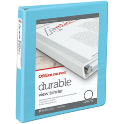 """Office Depot® Brand Durable View 3-Ring Binder, 1"""" Round Rings, 49% Recycled, Jeweler Blue"""