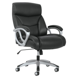basyx by HON® Big And Tall Bonded Leather High-Back Chair, Black/Silver Mist