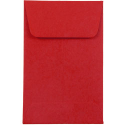 "JAM Paper® Open End Coin Envelopes, #1, 2 1/4"" x 3 1/2"", Red, Pack Of 25"