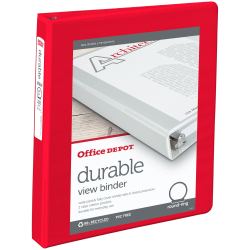 "Office Depot® Brand Durable View 3-Ring Binder, 1"" Round Rings, Red"