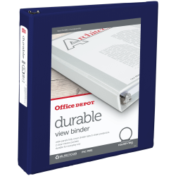"""Office Depot® Brand Durable View 3-Ring Binder, 1 1/2"""" Round Rings, 49% Recycled, Blue"""