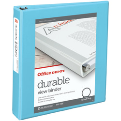 """Office Depot® Brand Durable View Round-Ring Binder, 1 1/2"""" Rings, 30% Recycled, Jeweler Blue"""