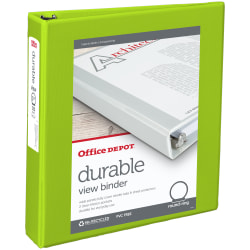 """Office Depot® Brand Durable View 3-Ring Binder, 1 1/2"""" Round Rings, 49% Recycled, Green"""