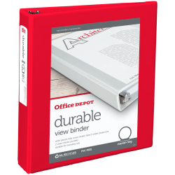 "Office Depot® Brand Durable View 3-Ring Binder, 1 1/2"" Round Rings, Red"