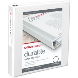 "Office Depot® Brand Durable View 3-Ring Binder, 1 1/2"" Round Rings, White"
