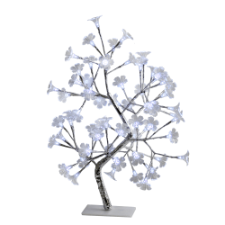 """Simple Designs Morning Glory Lighted Decorative Tree, 23 5/8""""H, Clear Shade/Silver Base"""