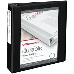 "Office Depot® Brand Durable View 3-Ring Binder, 2"" Round Rings, 49% Recycled, Black"