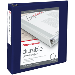 """Office Depot® Brand Durable View 3-Ring Binder, 2"""" Round Rings, 49% Recycled, Blue"""