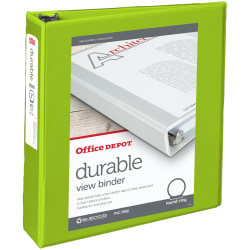 "Office Depot® Brand Durable View 3-Ring Binder, 2"" Round Rings, 61% Recycled, Green"