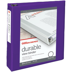 "Office Depot® Brand Durable View 3-Ring Binder, 2"" Round Rings, 61% Recycled, Purple"