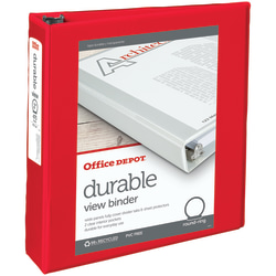"Office Depot® Brand Durable View Round-Ring Binder, 2"" Rings, Red"