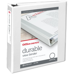 "Office Depot® Brand Durable View 3-Ring Binder, 2"" Round Rings, 49% Recycled, White"