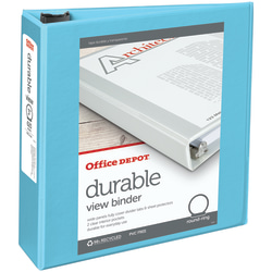 "Office Depot® Brand Durable View 3-Ring Binder, 3"" Round Rings, Jeweler Blue"