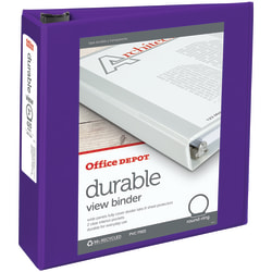 """Office Depot® Brand Durable View 3-Ring Binder, 3"""" Round Rings, 49% Recycled, Purple"""