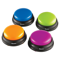 "Learning Resources Plastic Answer Buzzers, 3-1/2"", Assorted Colors, Pack Of 4 Buzzers"