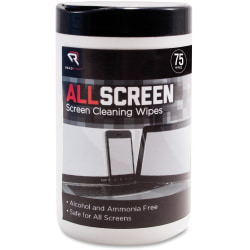 Advantus Read/Right AllScreen Screen Cleaning Wipes - For Display Screen - Alcohol-free, Ammonia-free - 75 / Canister - 1 Each - Assorted