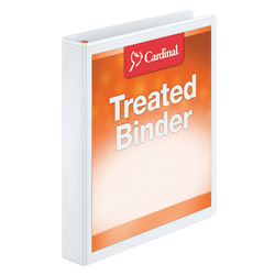 "Treated ClearVue™ Locking 3-Ring Binder, 1"" D-Rings, 52% Recycled, White"