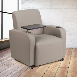 Flash Furniture Bonded LeatherSoft™ Contemporary Tablet-Arm Wheeled Guest Chair, Gray