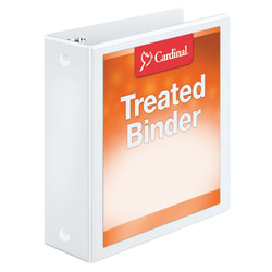 "Treated ClearVue™ Locking Round-Ring Binder, 3"" Rings, 52% Recycled, White"