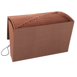 "Smead® TUFF® Expanding File With Flap & Elastic Cord, 21 Pockets, A-Z, 15"" x 10"" Legal Size, 30% Recycled, Brown"