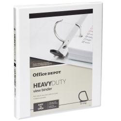 "Office Depot® Brand Heavy-Duty View 3-Ring Binder, 1/2"" Round Rings, White"