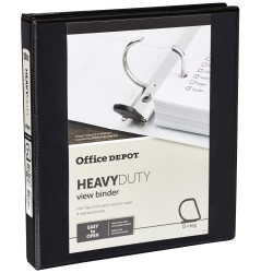 """Office Depot® Brand Heavy-Duty View 3-Ring Binder, 1"""" D-Rings, 49% Recycled, Black"""