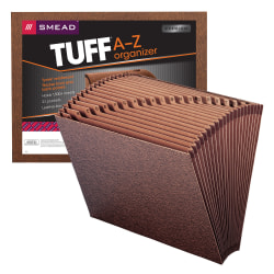 """Smead® TUFF® Expanding File, 21 Pockets, A–Z, 12"""" x 10"""", Letter Size, 30% Recycled, Brown"""