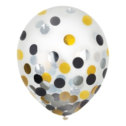 """Amscan 12"""" Confetti Balloons, Black/Gold/Silver, 6 Balloons Per Pack, Set Of 4 Packs"""
