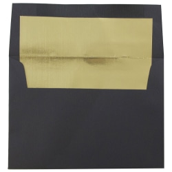 "JAM Paper® Foil-Lined Booklet Invitation Envelopes, A6, 4 3/4"" x 6 1/2"", 30% Recycled, Black/Gold, Pack Of 25"