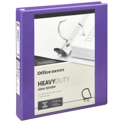 """Office Depot® Heavy-Duty View 3-Ring Binder, 1"""" D-Rings, 49% Recycled, Purple"""