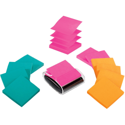 """Post-it® Notes Pop-Up Notes With Dispenser, 3"""" x 3"""", Assorted Colors, Pack Of 12 Pads"""