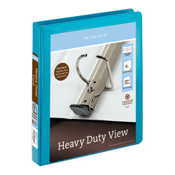 """Office Depot® Brand Heavy-Duty D-Ring View Binder, 1"""" Rings, 54% Recycled, Teal"""