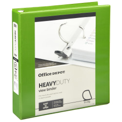 """Office Depot® Heavy-Duty View 3-Ring Binder, 1 1/2"""" D-Rings, 49% Recycled, Army Green"""