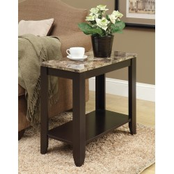 Monarch Specialties Accent Table With Marble Top, Rectangle, Brown