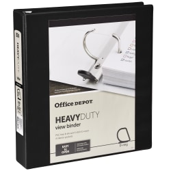 "Office Depot® Brand Heavy-Duty D-Ring View Binder, 1 1/2"" Rings, Black"