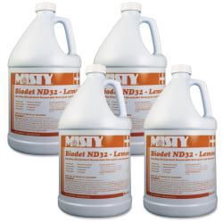 Amrep Biodet ND32 One-Step Disinfectant - Concentrate Liquid - 128 fl oz (4 quart) - Lemon Scent - 4 / Carton - Yellow