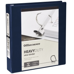 "Office Depot® Heavy-Duty View 3-Ring Binder, 1 1/2"" D-Rings, 49% Recycled, Navy"