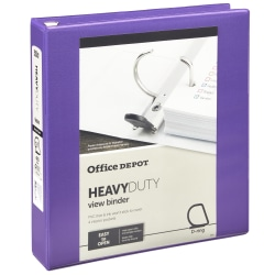 """Office Depot® Heavy-Duty View 3-Ring Binder, 1 1/2"""" D-Rings, 49% Recycled, Purple"""