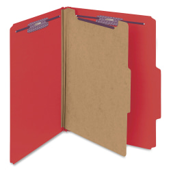 "Smead® Classification Folders, With SafeSHIELD® Coated Fasteners, 1 Divider, 2"" Expansion, Letter Size, 50% Recycled, Red, Box Of 10"