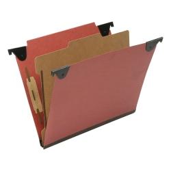 "SKILCRAFT Straight Tab Cut Letter Recycled Hanging Folder - 2"" Folder Capacity - 8 1/2"" x 11"" - Top Tab Position - 1 Divider(s) - Pressboard, Kraft, Fiber - Red - 60% - 10 / Box - TAA Compliant"