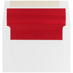 "JAM Paper® Foil-Lined Booklet Invitation Envelopes, A7, 5 1/4"" x 7 1/4"", Red/White, Pack Of 25"
