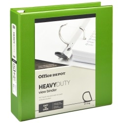 "Office Depot® Brand Heavy-Duty View 3-Ring Binder, 2"" D-Rings, Army Green"