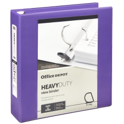 """Office Depot® Heavy-Duty View 3-Ring Binder, 2"""" D-Rings, 49% Recycled, Purple"""
