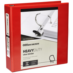 """Office Depot® Brand Heavy-Duty D-Ring View Binder, 2"""" Rings, Red"""