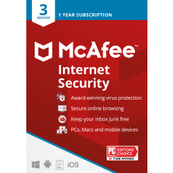 McAfee Internet Security, 3 Devices, Antivirus Software, 1 Yr – Product Key