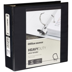 "Office Depot® Brand Heavy-Duty D-Ring View Binder, 3"" Rings, Black"