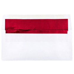 """JAM Paper® Booklet Envelopes With Gummed Closure, #10, 4 1/8"""" x 9 1/2"""", Red/White, Pack Of 25"""