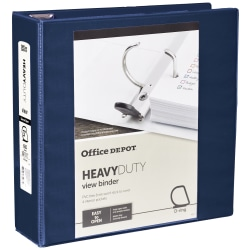 """Office Depot® Heavy-Duty View 3-Ring Binder, 3"""" D-Rings, 49% Recycled, Navy"""