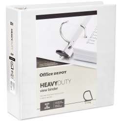 "Office Depot® Brand Heavy-Duty View 3-Ring Binder, 3"" D-Rings, White"